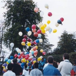 Hundreds of balloon head off at the start of the balloon Race