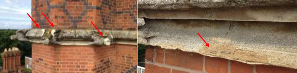 LEFT: Extend of damage. RIGHT: Failed repair.