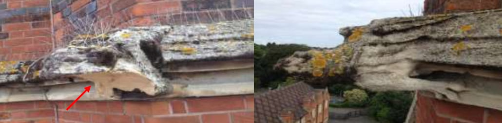 LEFT: Source of defective sandstone Gargoyle. RIGHT: View of the adjacent Gargoyle