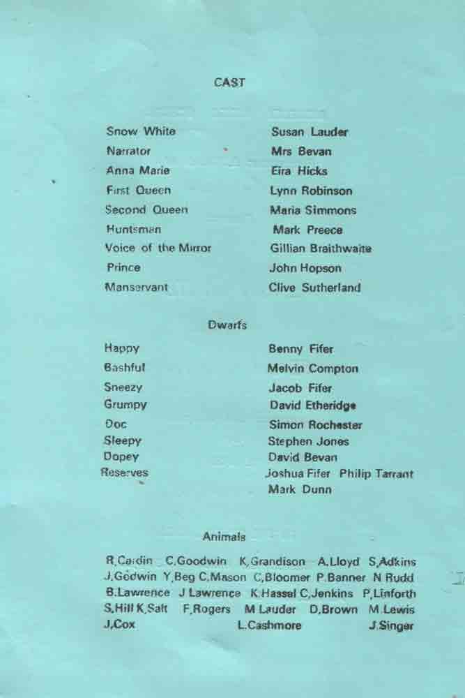 Snow White 1973 The Moseleians Association