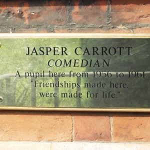A plaque to celebrate Jasper Carrotts 70th birthday