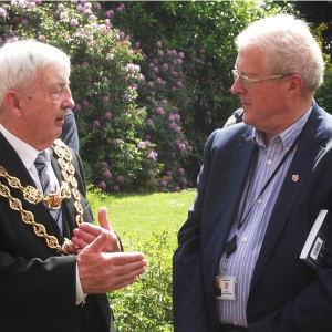 Councillor Ray Hassall, the Lord Mayor of Birmingham chats with Moseleians Chairman Richard Cobb