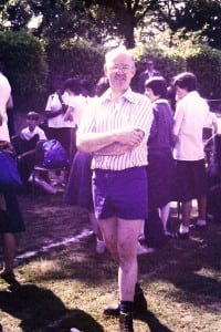 Sports Day 1979 Mr Stokes in shorts